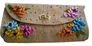 Vintage Straw & multi-color Clutch