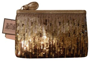Juicy Couture Luxe Sequins Leather Nwt New Gold Clutch