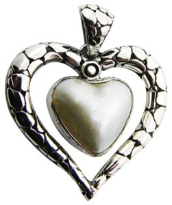 Island Silversmith Island Silversmith 925 Sterling Silver Mabe Pearl Loving Heart Pendant 0301B *FREE SHIPPING*