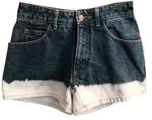 Paris Blues Bleach Out Ombre Denim Mini/Short Shorts Blue and White