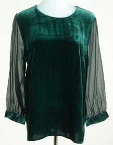 Madewell Eliot Velvet Chiffon Top Green