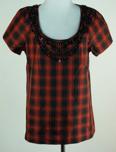J.Crew Eliza Tee Shirt Red Black Plaid Attached Necklace Top Multi-Color