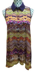 BCBGMAXAZRIA Max Azria Shirt Tank Sheer Chiffon Sleeveless Button Buttoned Heart Artistic Design Print Motif Pop Of Boho Chic Top Purple, Multi Color