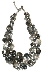 WHBM Costume Gray and Pearl bead necklace