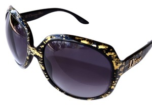 Dior Dior Limited Edition Black GLOSSY Sunglasses Oversized Gold Leaves