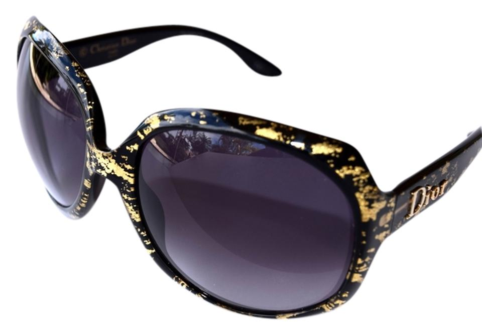 b59b948ef40e4 Dior GLOSSY Limited Edition Black Gold Leaves Sunglasses Oversized - 60%  Off Retail