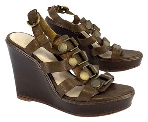 Coach Bronze Leather Studded Strap Wedges