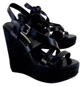Vera Wang Black Leather Espadrille Wedges