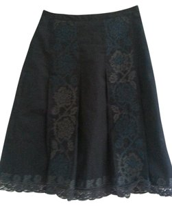 Ann Taylor LOFT Embroidered Panel A-line Skirt Black