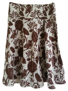 Gap Linene Twirl Full Floral Skirt Brown Floral
