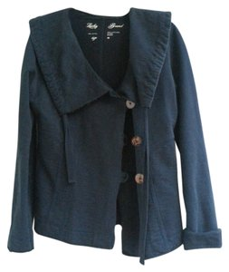 Lucky Brand Asymetrical Button Fleece Navy Blue Jacket