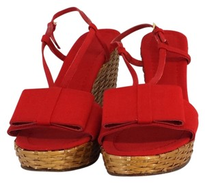 Kate Spade Red Canvas Bow & Woven Straw Wedges