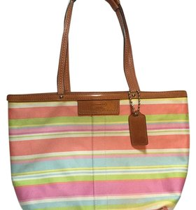 Coach Tote in Pink Green Yellow Blue White