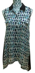 BCBG Max Azria Maz Shirt Tank Sheer Chiffon Button Buttoned Sleeveless Arrow Print Geometric Artistic Women Ladies Girls Juniors Top Blue, Black, Purple, White