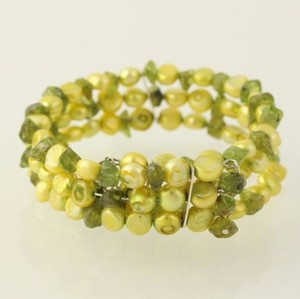 Dyed Button Pearl Peridot Wrap Bracelet - Silver Toned Womens Fashion