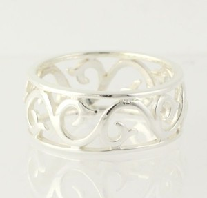 Other Scroll Work Ring - Sterling Silver 7.75 Band 925 Womens Fashion Open Cut