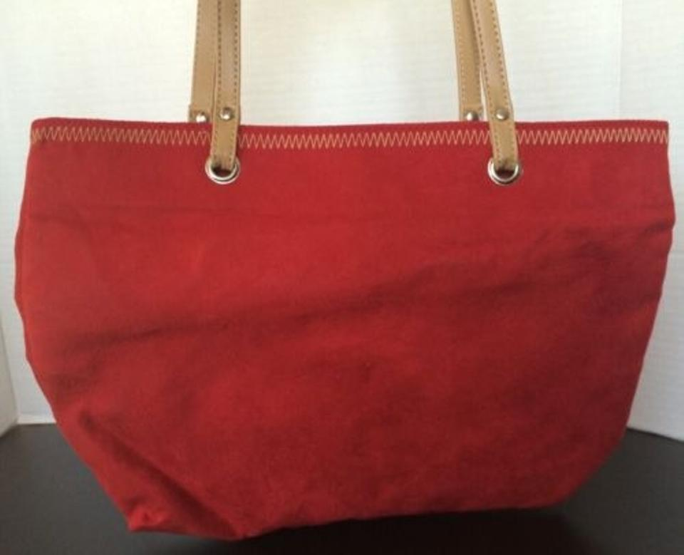 Red Faux Suede Handbag Purse