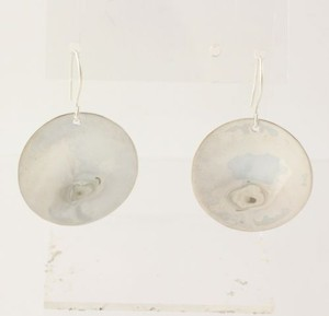 Circle Disc Earrings - Sterling Silver Hook Pierced Polished Hammered Dangle
