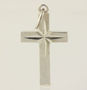 Christian Cross Dangle Pendant - Silver Toned Womens Fashion Estate Dangle