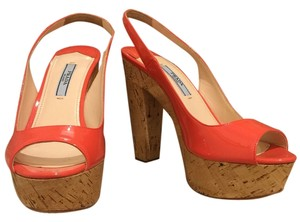 Prada Platforms Springlook Cork Bottoms Orange Pumps