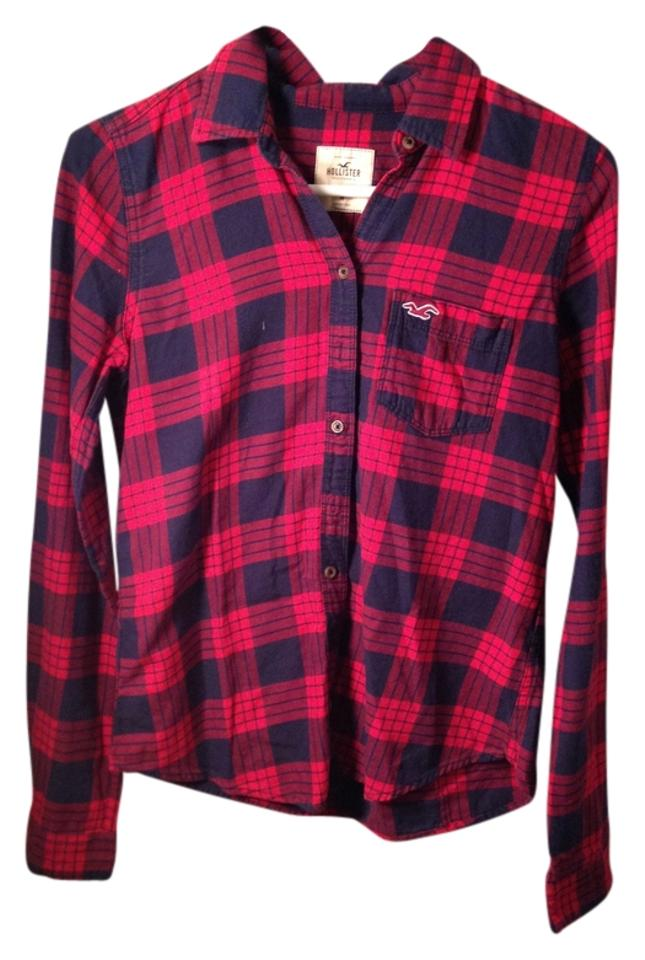 76019c28f49 Hollister Flannel Winter Warm Button Down Shirt Red and Black Plaid Image 0  ...