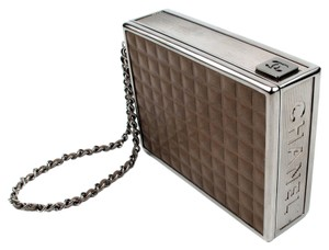 Chanel Cigarette Case Clutch Minaudiere Box Leather Wristlet in Brown