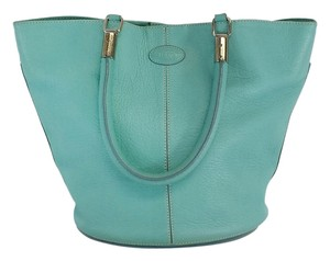 Tod's Aqua Leather Shoulder Bag