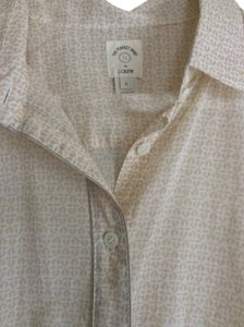 J.Crew Perfect Shirt Cotton Work Metallic Trim Button Down Shirt Beige