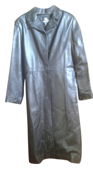 Item - Black 42 Made In Italy Leather Coat Size 8 (M)