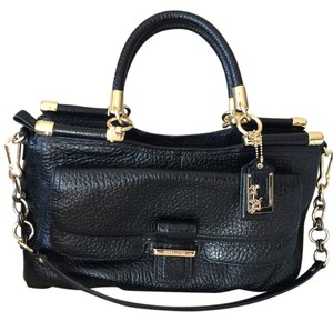 Coach Leather Shoulder Satchel in Black
