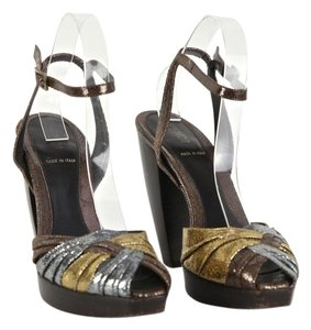 Fendi Bronze, Silver, Gold Platforms
