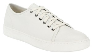 Vince Leather Lace Up Unisex Flats Sneakers White Athletic