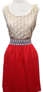 Red/cream Maxi Dress by Lily Rose