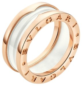 BVLGARI B.zero1 18K Rose Gold White Ceramic 3 Band Ring AN855964 US 6.25