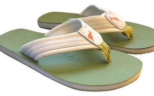 Tommy Bahama Green with ivory trim Sandals