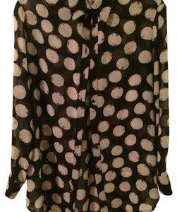 Bellatrix Print Circles Sheer Top Black and white