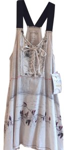 Free People We The Free Sz Small White W/ Designs Tunic