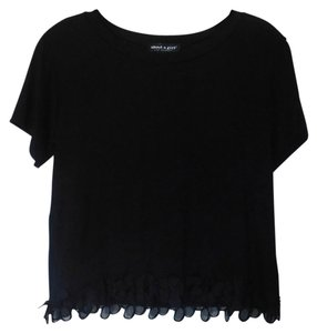 About A Girl Lace Trim Crop Rayon Top Black