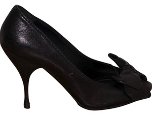 Miu Miu Bow Leather Open Toe Black Pumps