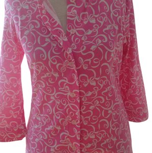 Lilly Pulitzer Button Down Shirt Pink and White