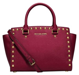 Michael Kors Saffiano Leather Studded Stud Satchel in Cherry Red