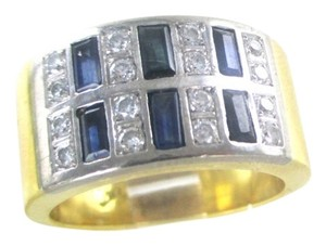 18KT YELLOW GOLD RING 16 GENUINE DIAMONDS .50 CT SAPPHIRES WEDDING BAND SZ 7