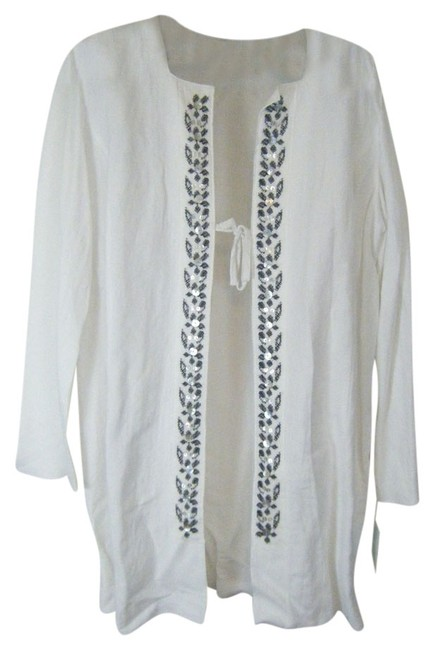 J H COLLECTIBLE Duster WHITE W BLACK EMBROIDERY Jacket