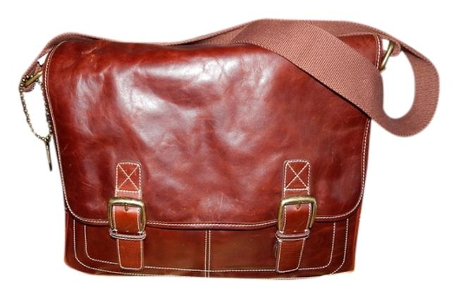 Item - Messenger Crossbody Briefcase Computer Case Attache Commuter Shoulder Tote Men Brown Mahogany Leather Laptop Bag