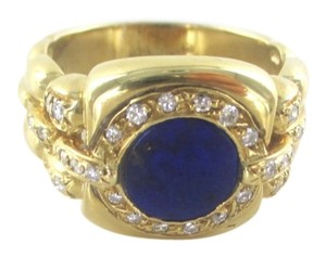 18KT YELLOW GOLD RING 32 GENUINE DIAMONDS .50 CT WEDDING BAND LAPIZ LASULI SZ 9