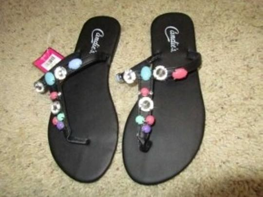 Candie's Flat Beaded Multicolor Black Sandals