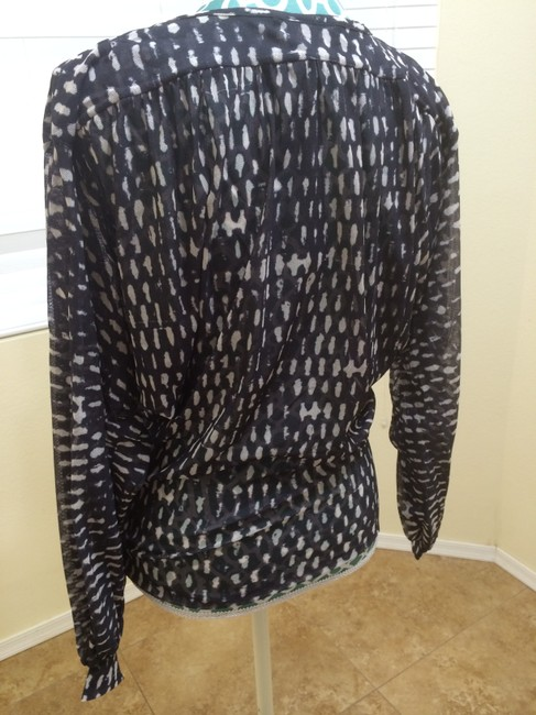 Elizabeth and James Shirt Elegant Runway Designer Print Double Breasted Unique Modern Style Fashion Nylon Stretchy Net Long Sleeve Top Black & White