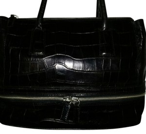 Wilsons Leather Crocodile Italian Satchel in Black