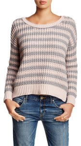 Free People Striped Cotton Pullover Gray Sweater