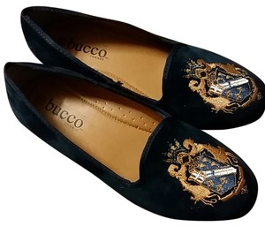 Bucco Smoking Loafers Smoking Loafers Velvet Crest Embroidered Navy Flats